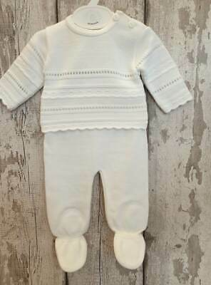 Spanish Style Baby Boy or Baby Girl White Knitted Leggings and Jumper Set
