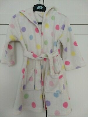 spotty dressing gown Age 3-4, white girl's dressing gown, 3-4y with spots