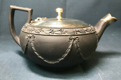 Antique English Victorian Wedgwood Black Sterling Silver 925 Teapot Tea Pot