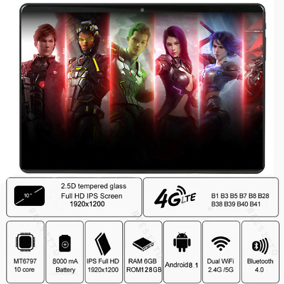 Tablet PC 6GB RAM 128GB ROM 1920*1200 IPS 8000mAh Android Dual Sim 4G LTE +Gifts