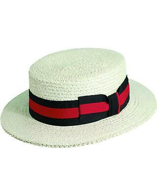 Scala Men's Ivory Straw with Ribbon Trim Boater Hat - MS369