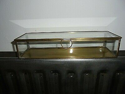 "Brass And Glass Lidded Display Case 11.5"" X 2.1/4"" X 3.3/4"""