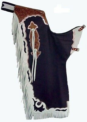 Western Black Top Grain Leather Bull Riding Rodeo chaps with Matching Fringes