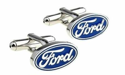 Ford Pair Chrome Cufflinks Velvet Pouch Focus Fiesta Ka Transit Custom Connect