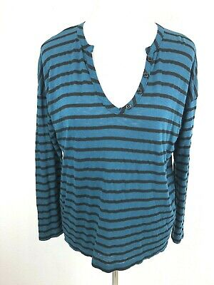 Splendid Striped Long Sleeve Tee Womens S Teal Black Casual High Lo Stretch Knit