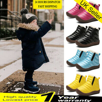 ❤Toddler Winter Snow Waterproof Boots Kids Boys Girls Warm Fur Lined Ankle Shoes