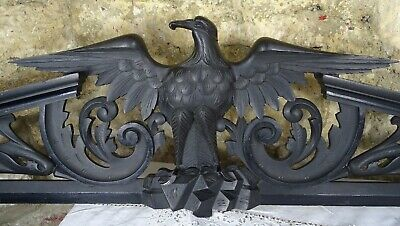 """57"""" Antique French Large Carved Wood Pediment Eagle - Napoleon III 19th"""