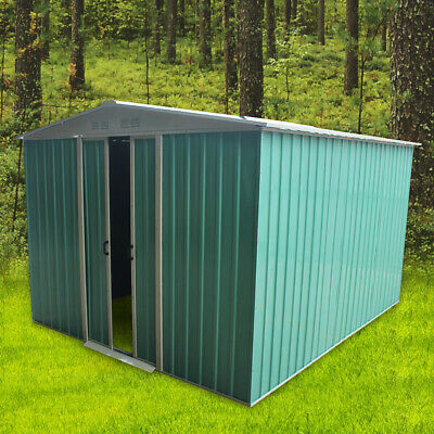 8x8FT Metal Garden Shed Apex Roof Free Storage with Free Foundation Outdoor