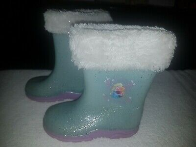 Frozen Girls Kids Size 7 Blue Purple Sparkly Wellies Boots Good Condition Lovely