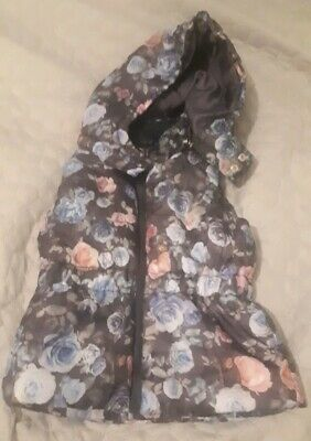 girls h and m gilet jacket coat sleveless age 3 - 4 navy floral