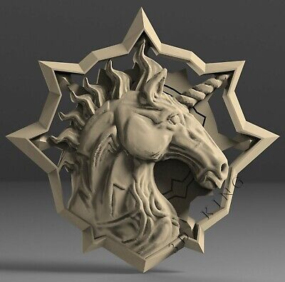 3D STL Model # UNICORN HEAD # for CNC Aspire Artcam 3d Printer Engraver Carving
