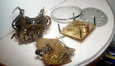 Old clock movements , ideal spares repairs