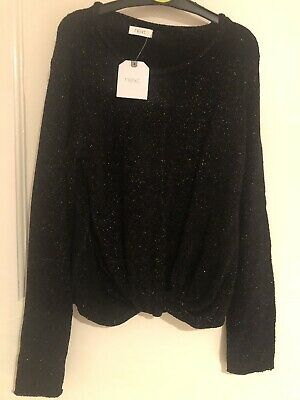 Brand New With Tags!! Girls Next Black Shimmer/Glitter Jumper. Age 7. RRP £14