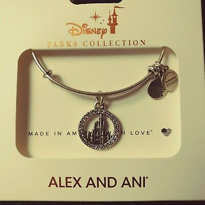 Disney Parks ALEX AND ANI Cinderella Castle Stones Silver Bangle Bracelet New