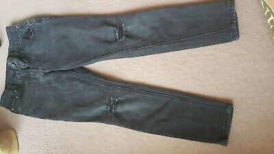 Girls Female Skinny Jeans In Black 10-11 Years Long Trousers,Patch Knees,George.