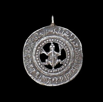 Early Islamic amulet with frog . Qarakhanid period. Silver . RARE .