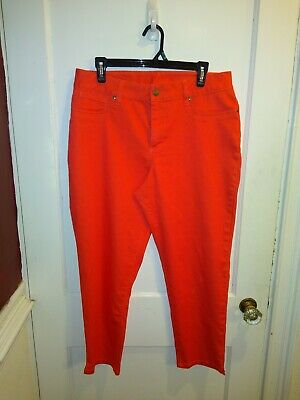 Women With Control Woman Size 14P Petite Coral Cropped Pants Stretch