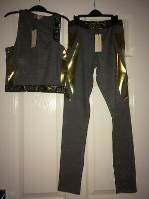 Ri active river island crop top and leggings grey speckled and gold 11/12yrs