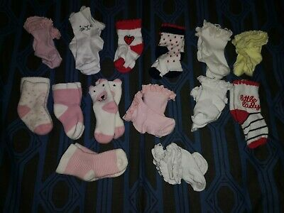 2xPairs Of Baby Girl/'s Socks 1xPink And 1xWhite Size 0-6 Months