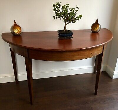 Antique  Mahogany Demi Lune Console Side Hall Table