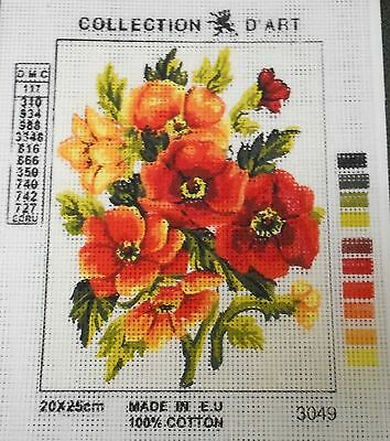 RED & ORANGE FLOWERS - Tapestry to Stitch (NEW) by Collection D'Art
