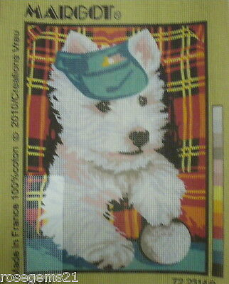 White Terrier Dog with Cap ~ TAPESTRY CANVAS from Margot (FRANCE)