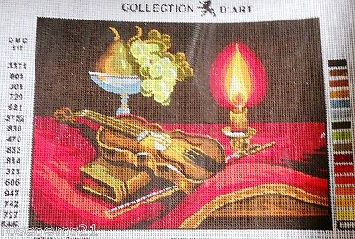 VIOLIN, CANDLE, FRUIT - Tapestry to Stitch (NEW)