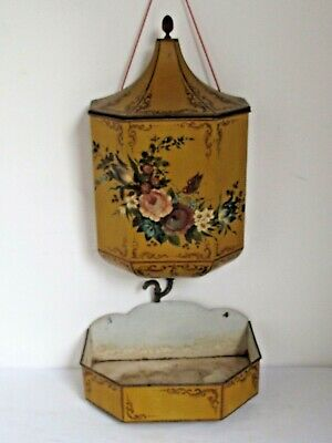 Antique French Lavabo and Catch Basin Tin Toleware Hand Painted Flowers