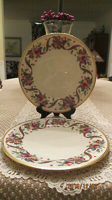 """Lenox China Dimension Collection Holiday Tartan Set Of 2 Dinner Plates 10 3/4"""""""