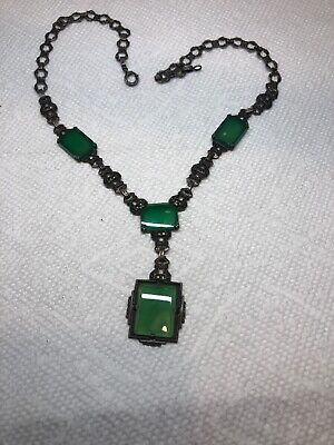 Antique Sterling Silver Chain With Attached Green Stoned