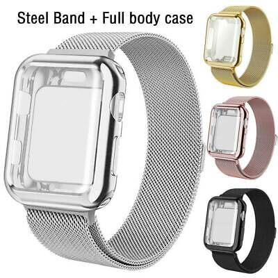 Metal Milanese Band Strap+Screen Protector Case for Apple Watch Series 5 4 3 2 1
