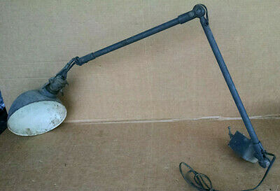 Antique Articulated Shop Work Light W/Shade Works 1900'S