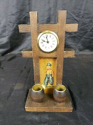 Antique German Mantle Clock Wooden Match Holder w/ Boy