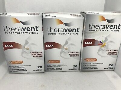 TheraVent Max Vented Snore Strips 3 Boxes=60 Strips Ex 10/20