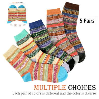 5 Pairs Women Wool Cashmere Lady Thick Winter Socks Warm Soft Casual Sock