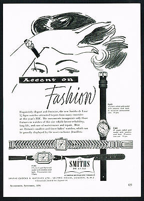 1950s Vintage 1956 Smiths De Luxe British Watch Mid Century Art Print Ad