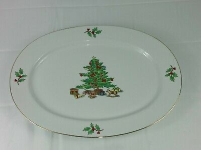 Vintage Holiday Hostess China Large Oval Serving Platter Holly Christmas Tree