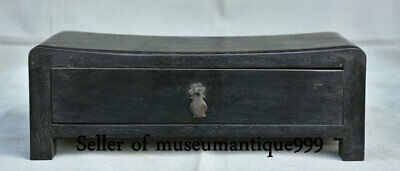 """11.4"""" Old China Black Ebony Wood Dynasty Carved Box weeping willow pillow Statue"""