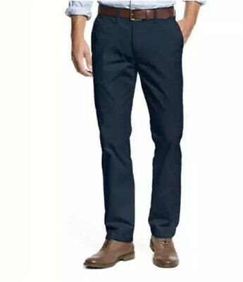 Tommy Hilfiger Men's Navy Blue Tailored Fit Flat Front Chino Pants Size 36 * 30