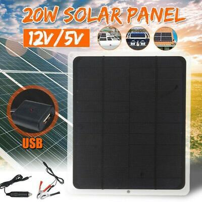 20W 12V Outdoor Car Boat Yacht Solar Panel Trickle Battery Charger Power Favor