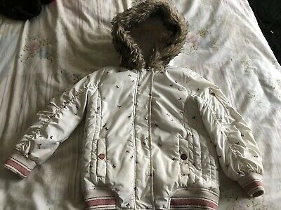 Girls Next Cream Pink Butterfly Winter Thick Style Coat Jacket Fur Age 4-5 Years