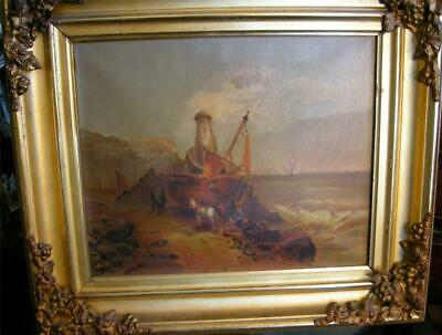 Fabulous Antique Dutch Painting Horses and Boat on the Seashore Mid 19th Century