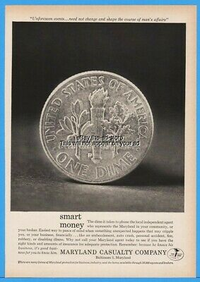 1963 Maryland Casualty Company Baltimore MD Roosevelt Dime Reverse US Coin Ad