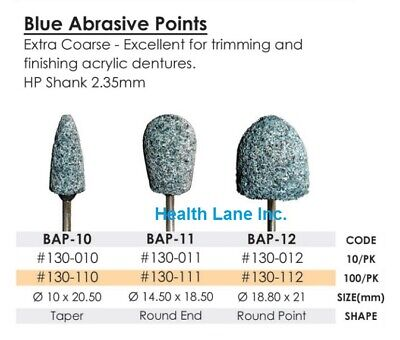 Meta BesQual Dental Blue Abrasive Points Extra Coarse HP for Acrylic Dentures
