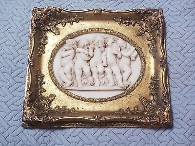 Vintage ornate wood framed resin cast marble Plaque Musical Cherubs figural