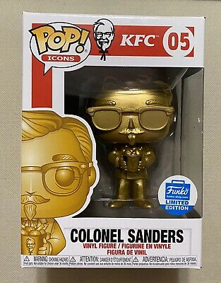 Funko Pop Ad Icon KFC Colonel Sanders Gold #05 Funko Shop Exclusive + Protector