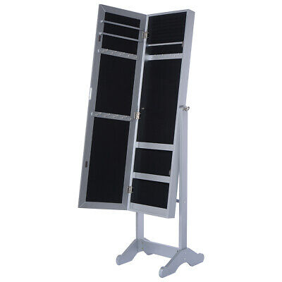 Rotatable Jewelry Box Mirrored Cabinet Armoire Organizer Storage w/ Stand Gift