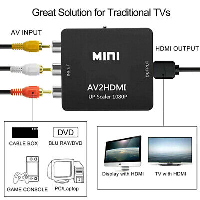 Mini 3RCA AV to HDMI Converter Adapter Composite AV2HDMI Converter 1080P ZH