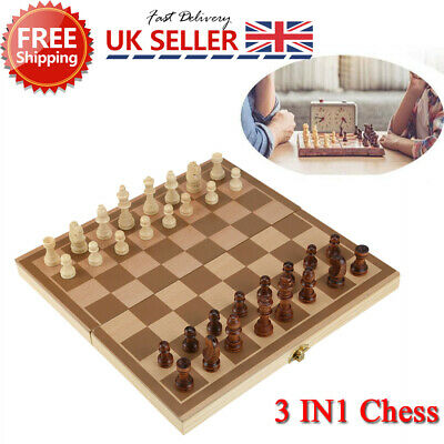 Folding Wooden Chess Set Boards Game Checkers Backgammon Draughts Toy Kids