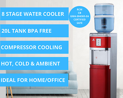 Water Cooler Dispenser Hot Cold Fluoride Reduction Control KDF Floor Standing AU